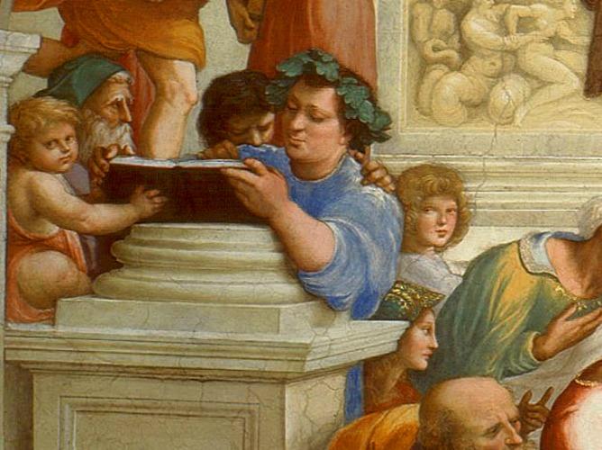 """Epicuro representado en """"La escuela de Atenas"""" de Rafael de Sanzio - Filosofía: Epicureísmo"""