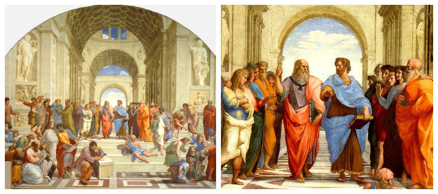 Escuela de Atenas collage2 - Sócrates, Platón y Arstóteles