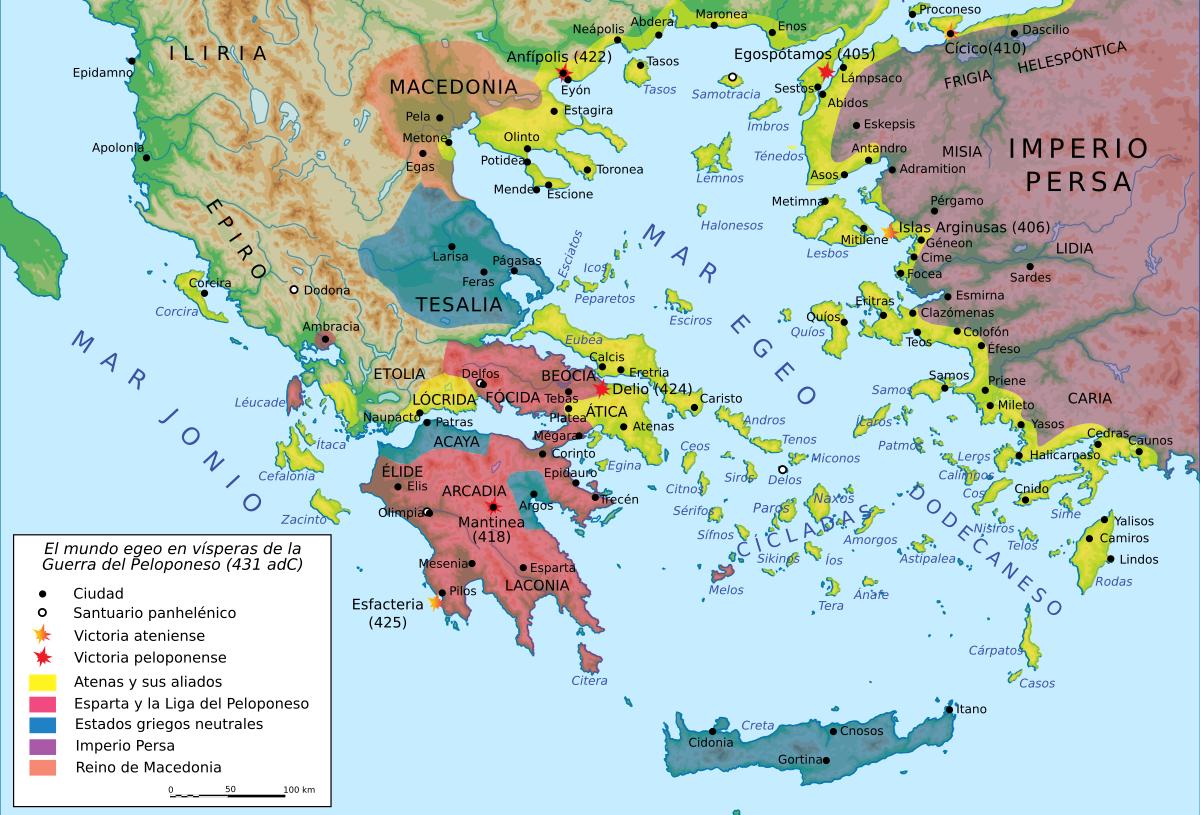 Mapa Guerra del Peloponeso3 - Guerra del Peloponeso - Antigua Grecia