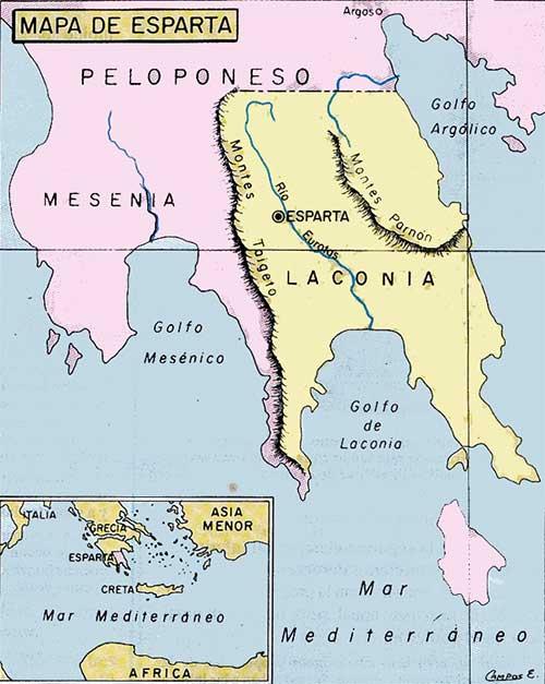 esparta mapa esparta - Esparta - Antigua Grecia